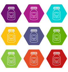 deadly liquid icons set 9 vector image