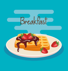 Delicious waffles with strawberries and chocolate vector