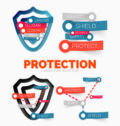 Diagram elements set of protection and vector