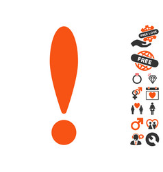 Exclamation icon with dating bonus vector