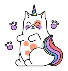 fantasy cat icon colorful fantasy watercolor vector image