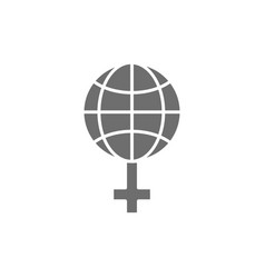Feminism in world globe with female sign grey vector