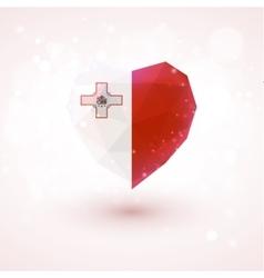 Flag of Malta in shape diamond glass heart vector