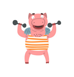 funny male pig exercising with dumbbells farm vector image