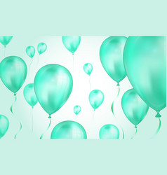 glossy teal color flying helium balloons backdrop vector image