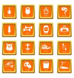 gym sport icons set orange square vector image