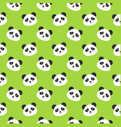 Happy panda faces seamless pattern vector