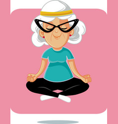 Happy senior yoga granny in lotus pose vector