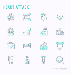 Heart attack thin line icons set vector