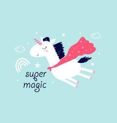 Hero unicorn for girls vector