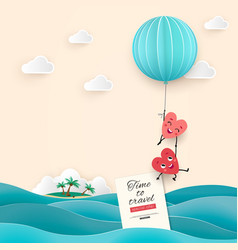 Honeymoon trip sea time to travel pair lovers vector