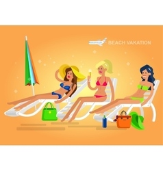 Hot girl on a beach vector image