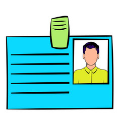 identification card icon cartoon vector image