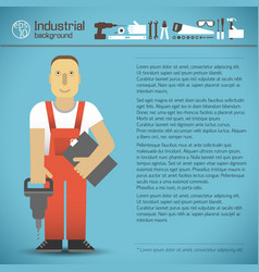 industrial background with worker vector image