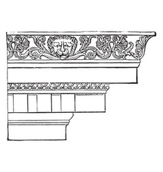 Ionic cornice temple of minerva polias at priene vector