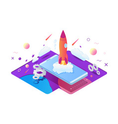 isometric 3d start up project with rocket gear vector image