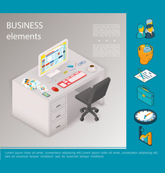 isometric business elements concept vector image