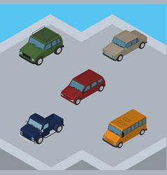 Isometric car set of car suv auto and other vector