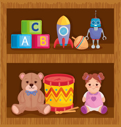 Kids toys in wooden shelving vector