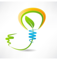 light bulb with leaf inside design element icon vector image