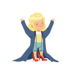 Lovely blonde girl wearing dult oversized clothes vector