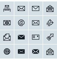 Mail icons set of 16 e-mail symbols vector image