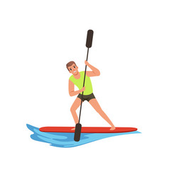 Man with an oar in hands standing on a surfboard vector