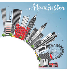 Manchester england city skyline with gray vector