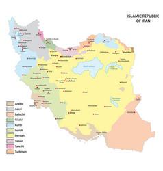 Map with main language iran vector