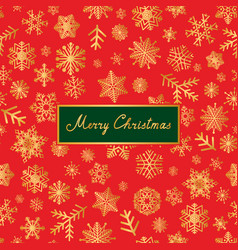 merry christmas lettering greeting card snow vector image