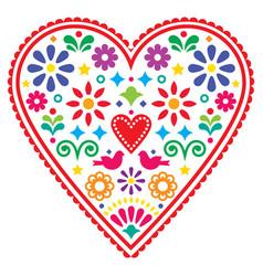 Mexican heart folk design valentines day vector
