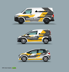 Mocup set with advertisement on white car cargo vector