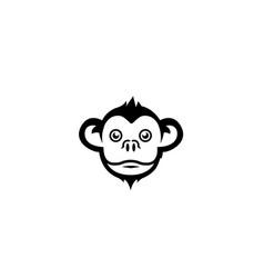 monkey head smile face logo design icon vector image