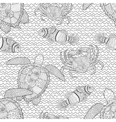 Oceanic animals zentangle seamless pattern vector