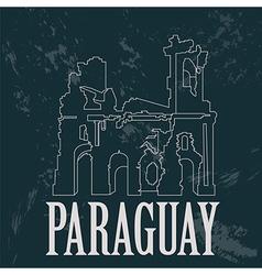 Paraguay landmarks Ruinas de Humaita Jesuit of vector