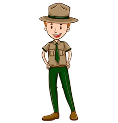 Park ranger in brown uniform vector