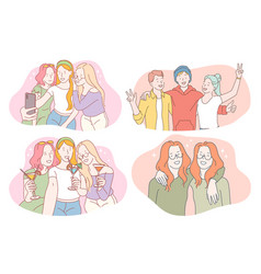 party friendship friends having fun vector image