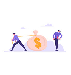 Poor confused businessman stand with empty pockets vector