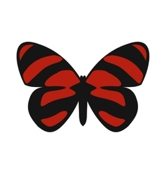 Red striped butterfly icon in flat style vector image