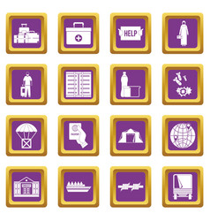 Refugees problem icons set purple vector