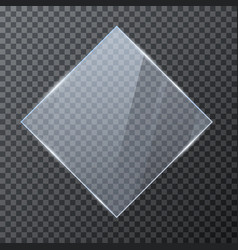 rhombus glass banner glossy frame template vector image