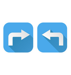right and left arrows turning square blue signs vector image