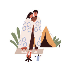 romantic love couple on camping tourists hugging vector image