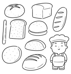 set baker and bakery vector image