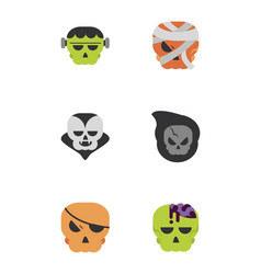 set icons trick or treat happy halloween vector image