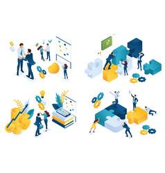 set isometric concept business partnership vector image
