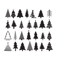 set of christmas tree icons vector image