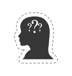 Silhouette female head question mark vector