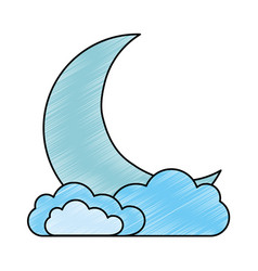 Sleeping moon kawaii character vector