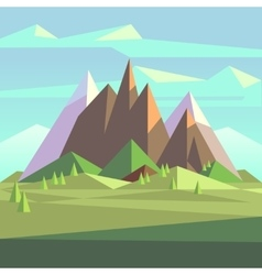 Snow rock mountains landscape in low poly vector image